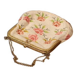 19th Century French Needlepoint Purse With Brass Strap and Lock For Sale