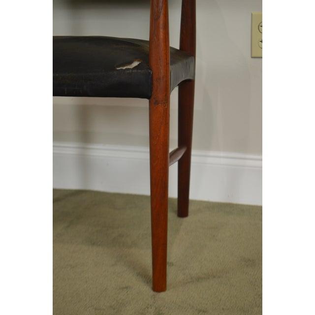 Danish Modern Teak & Black Leather Vintage Arm Chair For Sale - Image 11 of 13