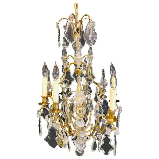 French Bronze and Crystal Gilt Chandelier, Louis XVI Style For Sale - Image 13 of 13