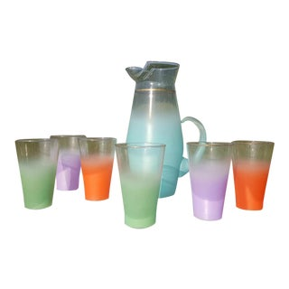 Mid Century Pastel Blendo Glassware Set of Six With PItcher For Sale