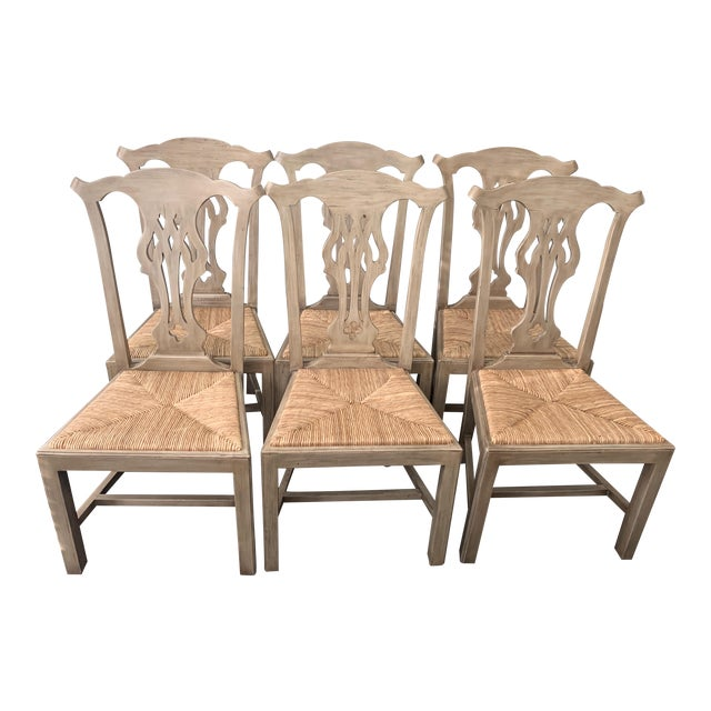 Designer English Country Dining Chairs - Set of 6 For Sale