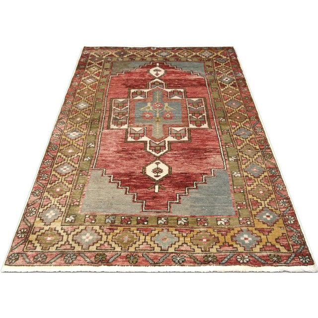 """1960s Turkish Oushak Rug 3'2"""" X 5'5"""" For Sale In Los Angeles - Image 6 of 7"""