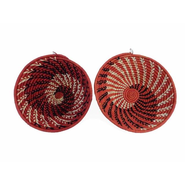 Spiral Handwoven Burundi Baskets - Set of 2 - Image 2 of 5