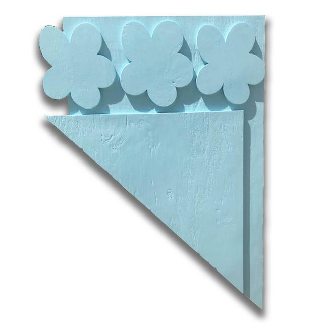 Baby Blue Original Painting Wood Assemblage Titled: Parts of Three Flowers For Sale - Image 8 of 8
