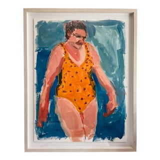 """""""Swimmer"""" Contemporary Figurative Oil Painting by Rebecca Jack, Framed For Sale"""
