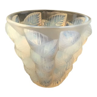 Early 20th Century R. Lalique Moissac French Opalescent Art Glass Vase For Sale