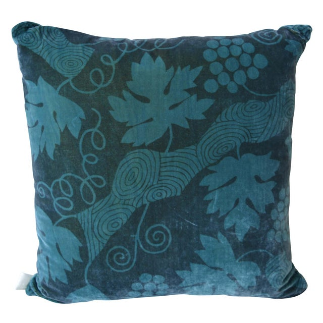 2010s Artist Hand-Dyed Cushions Teal Front Coordinating Blue Green Back For Sale - Image 5 of 5