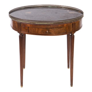 19th Century French Round Marble Topped Mahogany Side Table