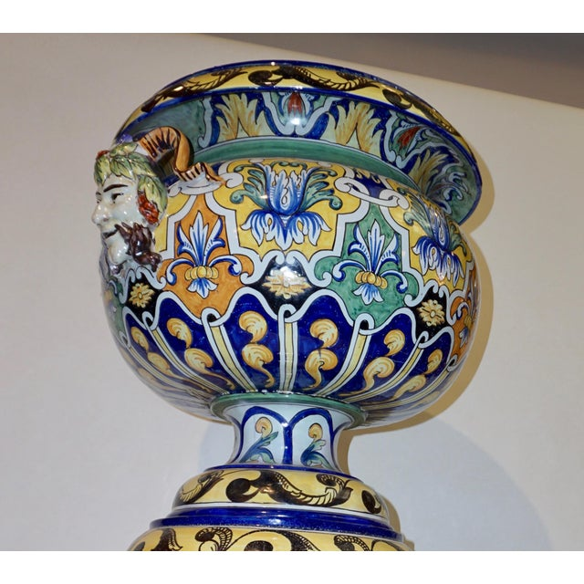 Islamic Montagnon 1880s French Blue, Yellow, Green Majolica 2 Pc. Jardinière on Stand For Sale - Image 3 of 13