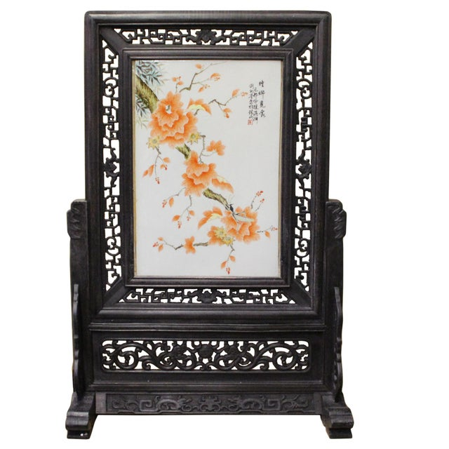 Ceramic Chinese Wood Frame Porcelain Plaque Table Top Screen Display For Sale - Image 7 of 9