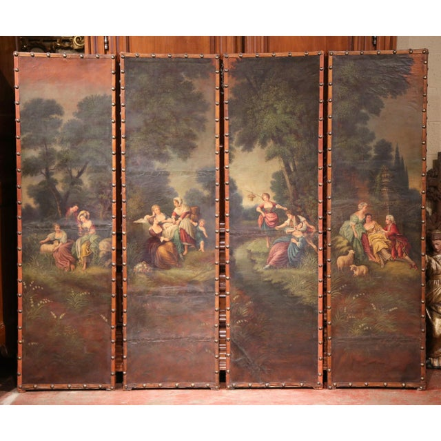 Mid 18th Century 18th Century, French Hand-Painted Leather Four-Panel Screen from Lyon For Sale - Image 5 of 11
