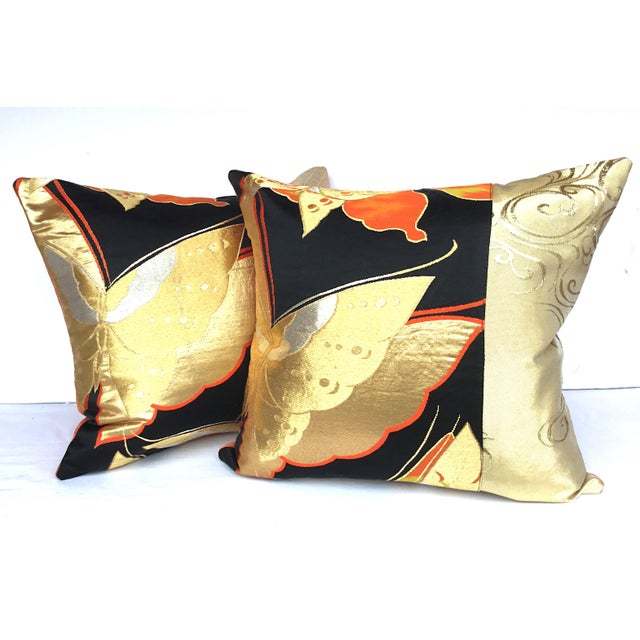 Vintgae Butterflies In Flight Japanese Obi Pillows - A Pair - Image 7 of 7