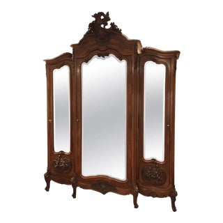 Grand Mirrored Walnut Louis XV French Armoire For Sale