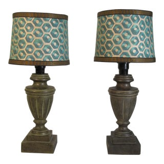 Petite Cast Ceramic Table Lamps With Turquoise Fortuny Favo Shades - a Pair For Sale