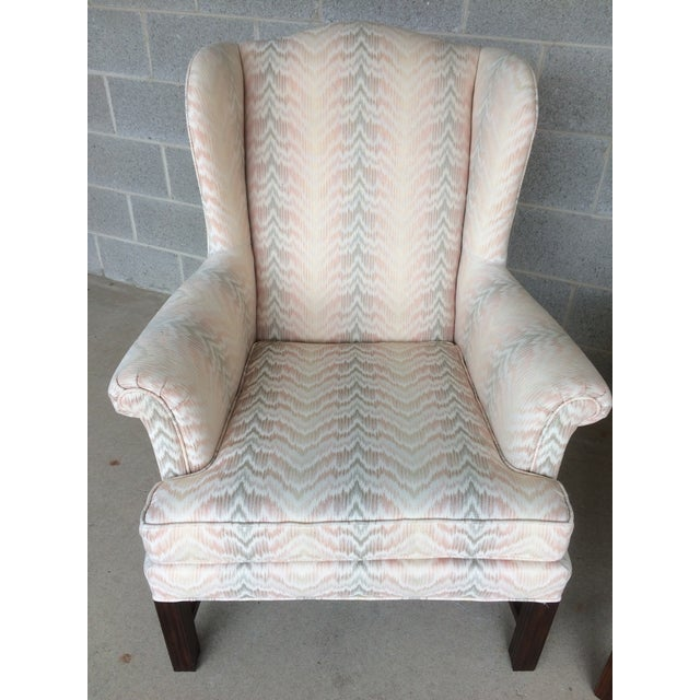 Drexel Traditional Classics Chippendale Style Wing Back Chairs - A Pair - Image 3 of 9