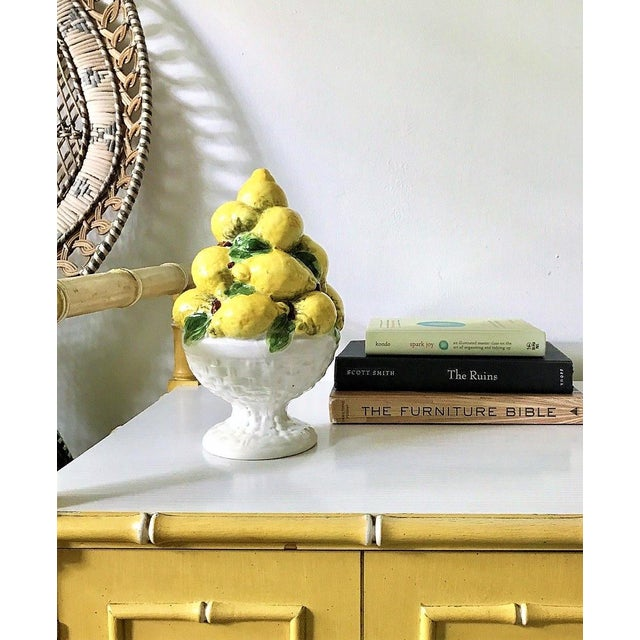 Cottage Italian Majolica Lemon Topiary ( 2 Available), Mid-Century For Sale - Image 3 of 11