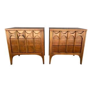 "Kent Coffey ""Perspecta"" Rosewood + Walnut Nightstands - a Pair For Sale"
