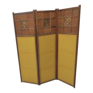 Oak Arts & Crafts Folding Screen For Sale