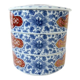 Vintage Three Tier Blue & White Chinese Stacking Bowls For Sale