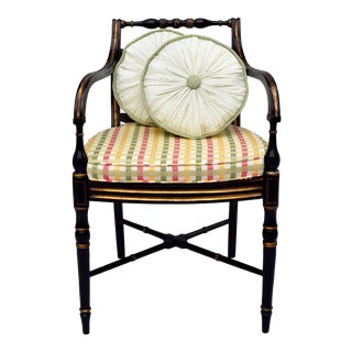 Antique Caned Regency Occasional Armchair With Accent Cushions For Sale