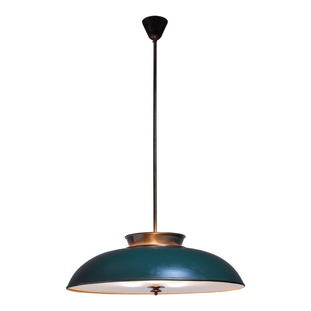 Large Swedish brass pendant lamp by Harald Notini, 1930s For Sale