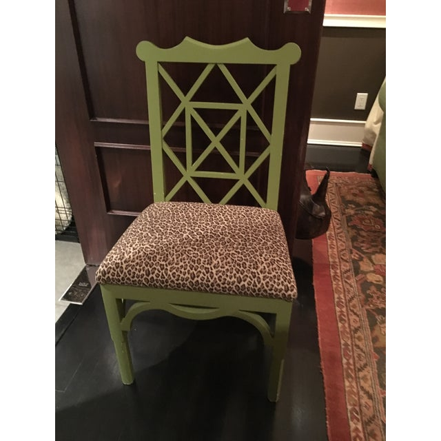 Custom Chinese Chippendale Green Chairs - Set of 10 - Image 5 of 11
