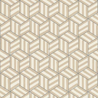 Sample - Schumacher Tumbling Blocks Stripes Geometric Wallpaper in Greige For Sale