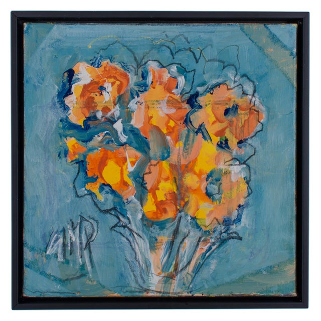 "2010s Abstract Oil Painting on Canvas, ""Orange Flowers"" by Suzanne McCullough Plowden For Sale - Image 5 of 5"