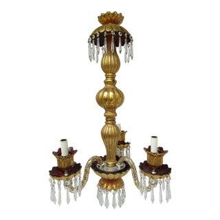 Three Light Crazed Gold & Purple Glass Chandelier