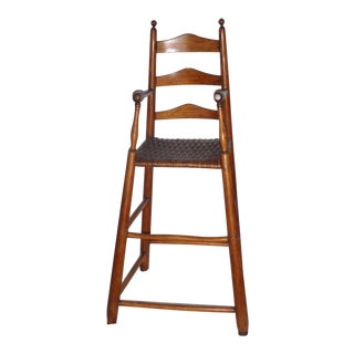 Fantastic 19th Century Childs Ladderback Height Chair from New England For Sale