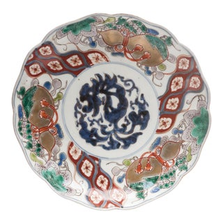 19th Century Japanese Imari Plate With Hand Painted Patterns For Sale