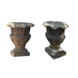 Concrete and Stone Planters - a Pair For Sale