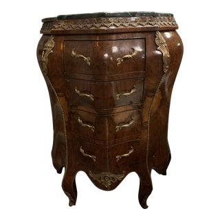 1920s Antique French Louis XV Style Bombe Chest Commode For Sale