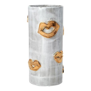 Tall Snow & Gold Kiss Vase