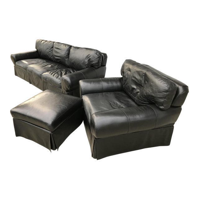 Custom Made Leather Sofa & Chair With Ottoman - Set of 3 - Image 1 of 11