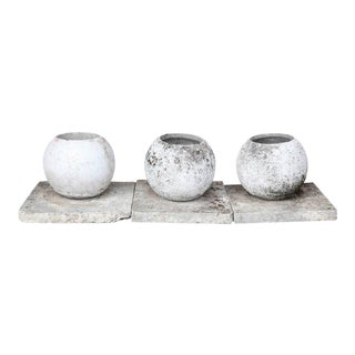 Mid-Century French Cast Stone Sphere Planter Trio