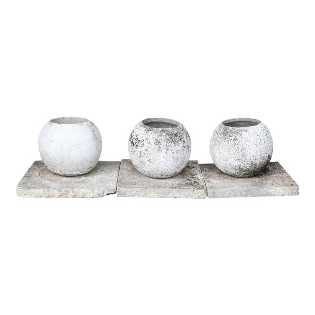 Mid-Century French Cast Stone Sphere Planter Trio For Sale