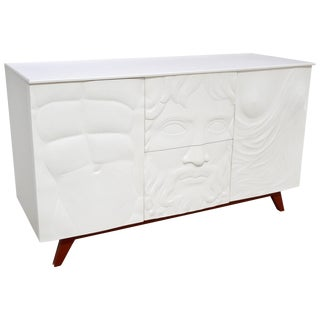 Contemporary Italian White Sideboard or Cabinet With Burgundy Wood Legs For Sale