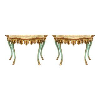 19th Century Decorated Parcel Gilt Venetian Consoles - a Pair For Sale
