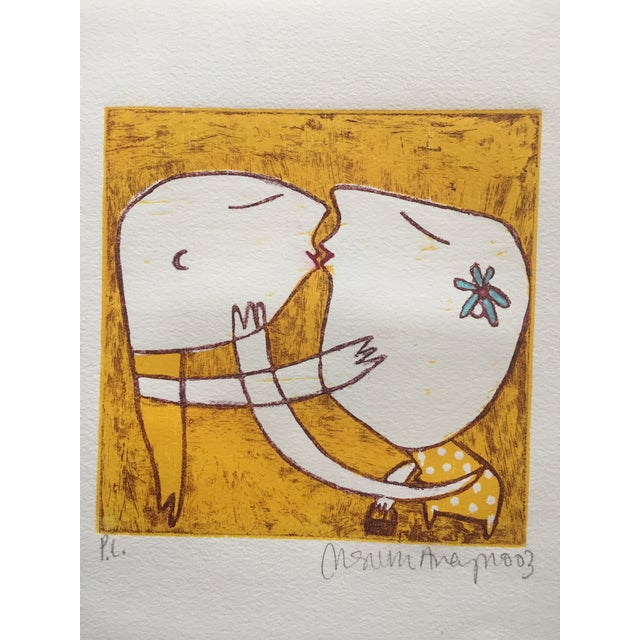 Original Yellow Monoprint by Marina Anaya - Image 9 of 10