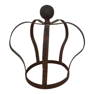 1950s Antique French Shabby Forged Iron Crown For Sale