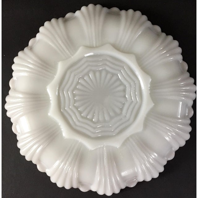 Vintage Milk Glass Deviled Egg Plate For Sale - Image 4 of 6