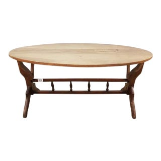 Vintage Dutch Oval Oak Mid Century Coffee Accent Table For Sale