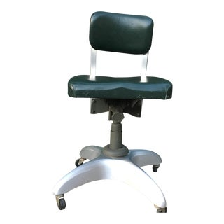 Vintage Aluminum Office Chair on Wheels