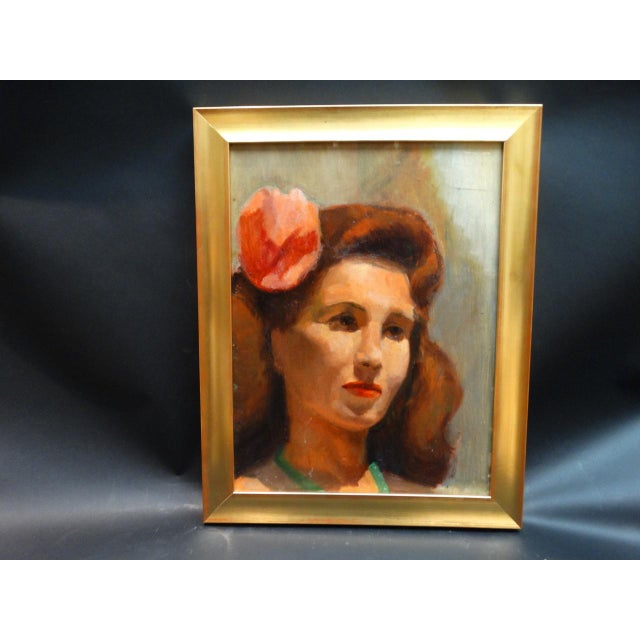Vintage Mid-Century Albert Londraville Woman With a Flower in Her Hair Painting For Sale - Image 4 of 8