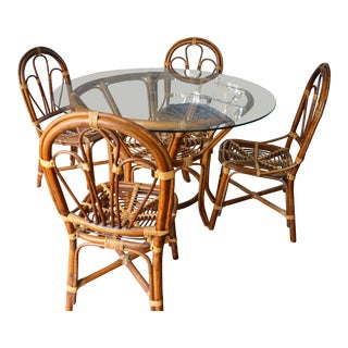 1950s Boho Chic Rattan Table and Chairs - 5 Pieces For Sale