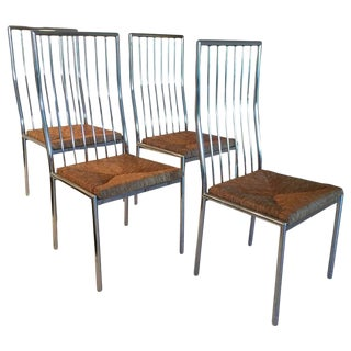 Mid Century Gio Ponti Chrome and Rattan Dining Chairs- Set of 4 For Sale