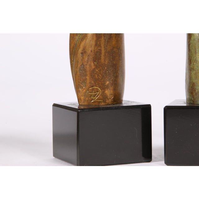 Mid 20th Century Group of Three Signed Modern Abstract Bronze Figures- in the Manner of Henry Moore For Sale - Image 5 of 7