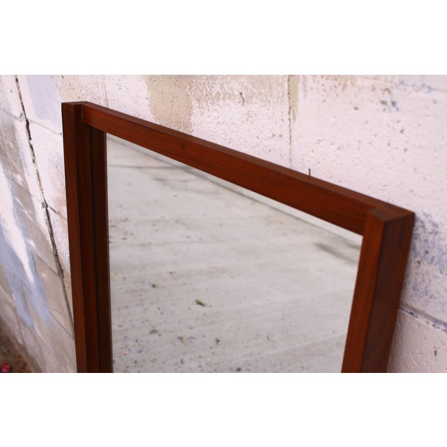 Large Danish Teak Mid Century Wall Mirror For Sale - Image 5 of 11