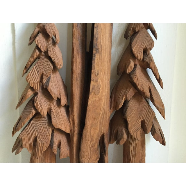 Vintage Rustic Redwood Carving Wall Hanging For Sale - Image 4 of 8